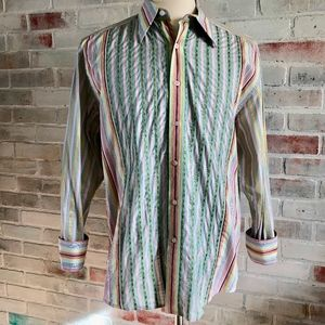 ROBERT GRAHAM Flip Cuff Pastels Flower Shirt